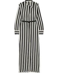 Norma Kamali - Belted Striped Stretch-jersey Maxi Dress - Lyst