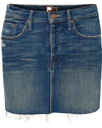 Mother - The Vagabond Distressed Denim Mini Skirt - Lyst