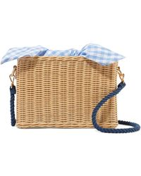 Kayu - Chloe Wicker And Gingham Cotton-canvas Shoulder Bag - Lyst