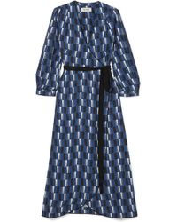 Cefinn - Printed Satin Wrap Midi Dress - Lyst