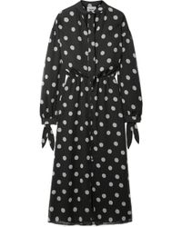 Nanushka - Zahara Pussy-bow Polka-dot Crinkled-chiffon Midi Dress - Lyst