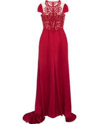 Jenny Packham - Embroidered Tulle And Satin Gown - Lyst