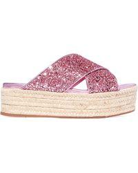 Miu Miu - Glittered Leather Espadrille Platform Sandals - Lyst