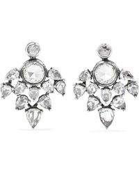Fred Leighton - Collection 18-karat White Gold Diamond Earrings - Lyst