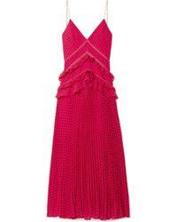 Self-Portrait - Chain-trimmed Swiss-dot Chiffon Maxi Dress - Lyst
