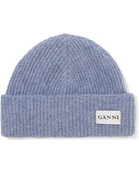 Ganni - Hatley Ribbed Wool Beanie - Lyst