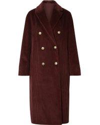 Brunello Cucinelli - Double-breasted Cotton-corduroy Coat - Lyst