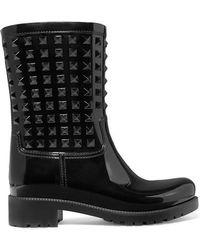 Valentino - Black Garavani Tonal Rockstud Rain Boots - Lyst