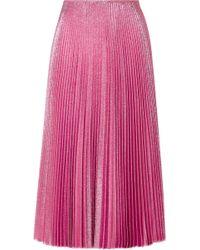 Cedric Charlier - Pleated Lurex Midi Skirt - Lyst