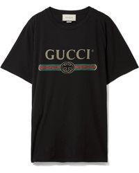 Gucci - Appliquéd Distressed Printed Cotton-jersey T-shirt - Lyst