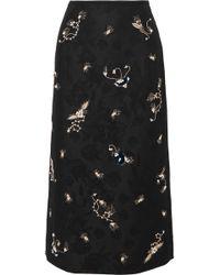 Erdem - Maira Embroidered Cotton-blend Jacquard Pencil Skirt - Lyst