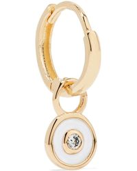 Alison Lou - Huggy 14-karat Gold And Enamel Diamond Hoop Earring - Lyst