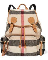 Burberry Prorsum - Medium Leather-trimmed Checked Felt Backpack - Lyst