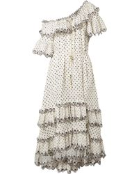 Zimmermann - Jaya Off-the-shoulder Tiered Embroidered Linen Midi Dress - Lyst