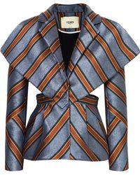 Fendi - Cutout Striped Satin-jacquard Blazer - Lyst