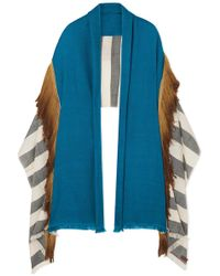 Melt - Fringed Striped Wool Wrap - Lyst