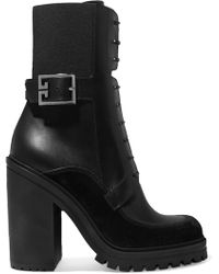 Givenchy - Aviator Suede And Mesh-trimmed Leather Ankle Boots - Lyst