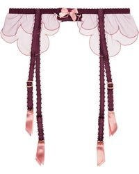 Agent Provocateur - Lorna Scalloped Embroidered Tulle Suspender Belt - Lyst
