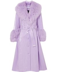 Saks Potts - Belted Shearling-trimmed Patent-leather Coat - Lyst