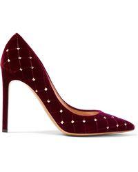 Valentino - Garavani Rockstud Spike Quilted Velvet Court Shoes - Lyst