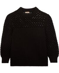 Bottega Veneta - Crochet-paneled Ribbed Cotton Sweater - Lyst