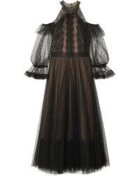 Notte by Marchesa | Cold-shoulder Lace-trimmed Point D'esprit Tulle Midi Dress | Lyst