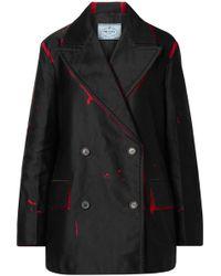 Prada - Oversized Double-breasted Printed Denim Jacket - Lyst