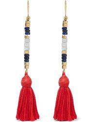 Aurelie Bidermann - Sioux Gold-plated, Lapis Lazuli, Rhyolite And Cotton Earrings - Lyst