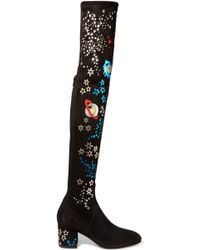 Valentino - Metallic Leather-appliquéd Stretch-suede Over-the-knee Boots - Lyst