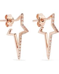 Diane Kordas - Star Hoop 18-karat Rose Gold Diamond Earrings - Lyst