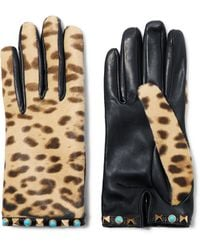 Valentino - Embellished Leopard-print Calf Hair And Leather Gloves - Lyst