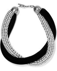 Saint Laurent - Twisted Crystal-embellished And Velvet Necklace - Lyst