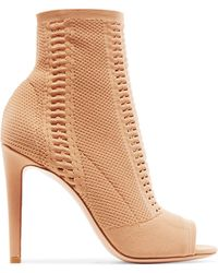 Gianvito Rossi | Vires 105 Peep-toe Perforated Stretch-knit Ankle Boots | Lyst