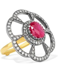 Amrapali - 18-karat Gold, Sterling Silver, Diamond And Ruby Ring - Lyst