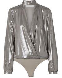 Michelle Mason - Draped Lamé Thong Bodysuit - Lyst