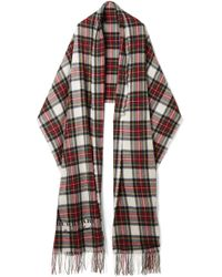 Burberry - Oversized Fringed Tartan Cashmere And Wool-blend Scarf - Lyst