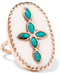 Pascale Monvoisin - Bowie 9-karat Rose Gold, Turquoise And Resin Ring Rose Gold 7 - Lyst