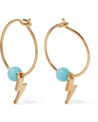 Iam By Ileana Makri - Mini Thunder Gold-plated Turquoise Hoop Earrings - Lyst