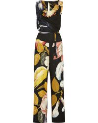 Vivienne Westwood Anglomania - Belted Printed Gauze Jumpsuit - Lyst