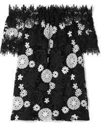 Naeem Khan - Off-the-shoulder Two-tone Guipure Lace Top - Lyst