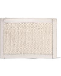 Aerin - Leather-trimmed Woven Straw Pouch - Lyst