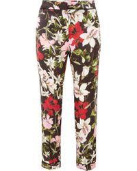 Erdem - Ginnie Cropped Floral-print Silk-satin Straight-leg Pants - Lyst
