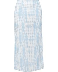 b6568a355 STAUD Andy Fringed Linen-blend Midi Skirt in Natural - Lyst