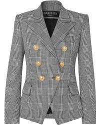 Balmain - Double-breasted Prince Of Wales Checked Cotton-blend Blazer - Lyst