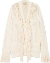 Christopher Kane - Fringed Open-knit Cotton Cardigan - Lyst