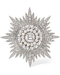 Balenciaga - Palladium-tone, Cubic Zirconia And Swarovski Pearl Brooch - Lyst