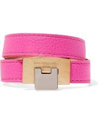Balenciaga - Le Dix Textured-leather Gold-tone Bracelet - Lyst