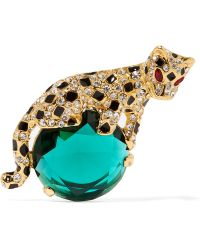 Kenneth Jay Lane - Gold-plated Enamel And Crystal Brooch - Lyst