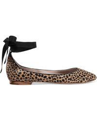Aerin   Leather-trimmed Leopard-print Calf Hair Ballet Flats   Lyst