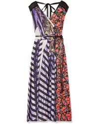Marc Jacobs - Tulle-trimmed Printed Shell And Satin-twill Midi Dress - Lyst
